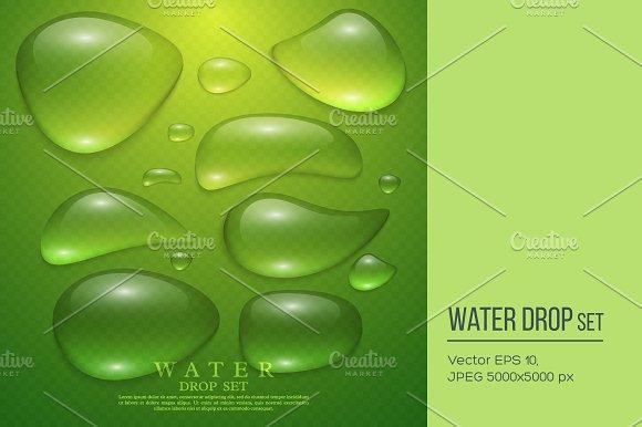 Realistic water drop set.