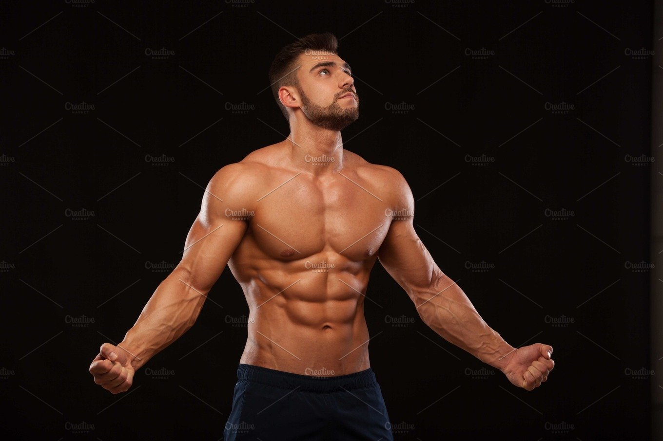 Strong Athletic Man Fitness Model Torso Showing Six Pack -6237