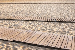 boardwalk on a sandy beach