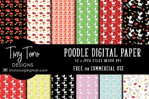 Poodles digital paper pack