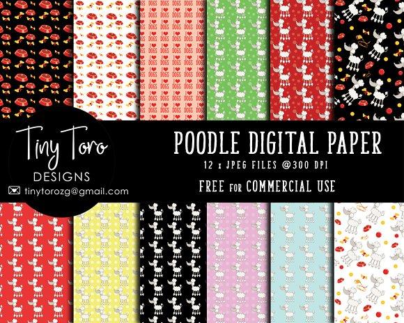 Poodles Digital Paper Pack