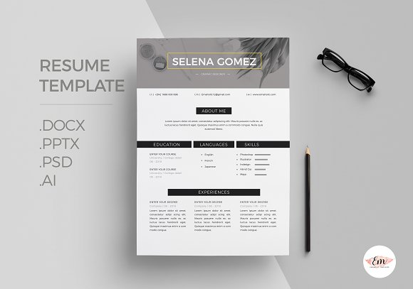 Modern 1 Page Resume Template in Resume Templates