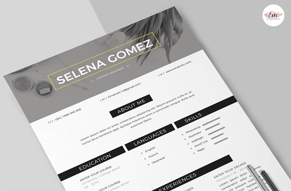 Modern 1 Page Resume Template in Resume Templates - product preview 4