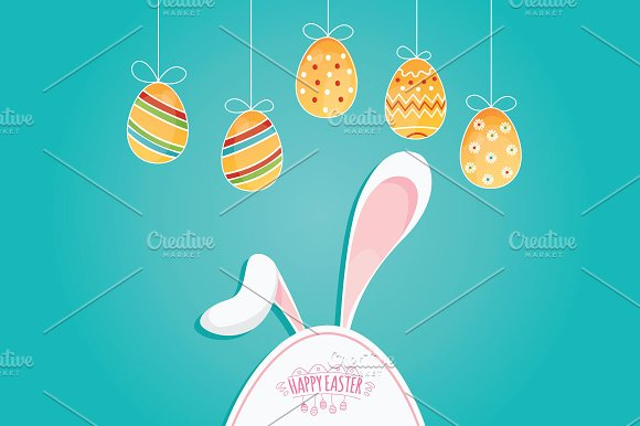 Happy Easter With Eggs And Rabbits