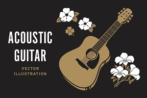 Retro Acoustic Guitar & Flowers