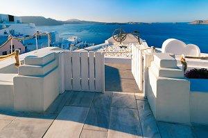 Oia or Ia on the island Santorini, Greece