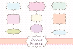 Retro Label Frames Shapes Set No 19