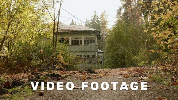 Abandoned Kids Camp In The Forest Autumn Daytime Smooth Dolly Shot
