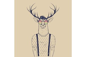 Modern deer hipster like a human