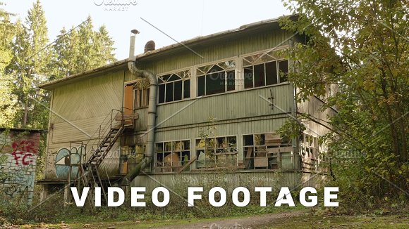 Deserted House In The Forest Autumn Daytime Smooth Dolly Shot
