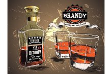 Brandy in two glasses and bottle