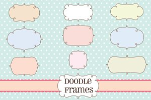 Retro Label Frames Shapes Set No 18