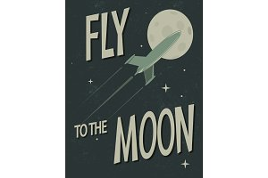 spaceship fly to the moon