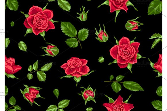 Seamless Pattern With Red Roses Beautiful Realistic Flowers Buds And Leaves