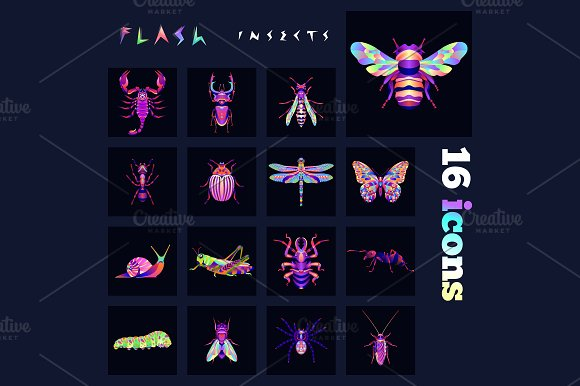 Insects Multicolored Icons