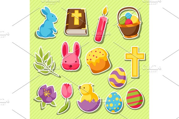 Happy Easter Set Of Decorative Objects Eggs And Bunnies Stickers