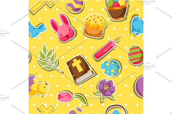 Happy Easter Seamless Pattern With Decorative Objects Eggs And Bunnies Stickers