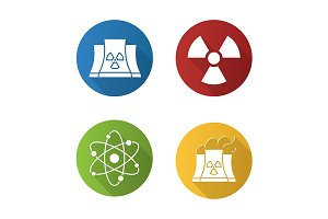 Atomic energy. 4 icons. Vector