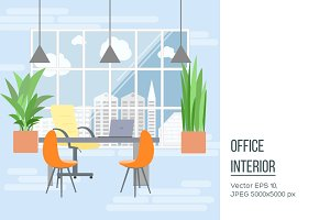 Boss office interior in flat design