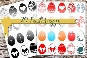 20 vector Easter Eggs