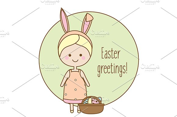 Easter Greeting Card With Cute Girl