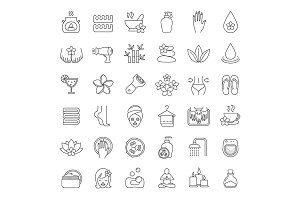 Spa salon. 36 icons. Vector