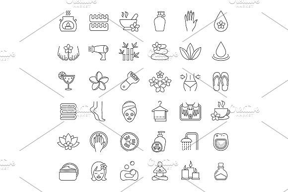 Spa Salon 36 Icons Vector