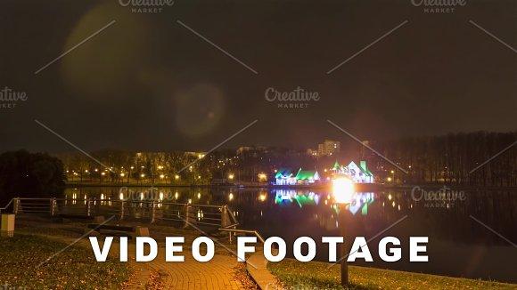 Night Restaurant On The Riverside Time Lapse Shot In Motion