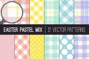Vector Easter Dots & Plaid Patterns