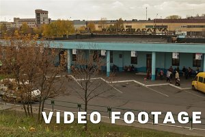Bus station, autumn.  Dolly, time lapse shot