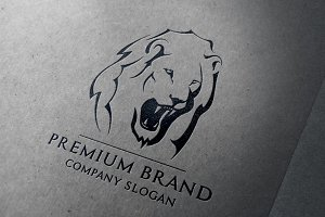 Premium Lion Logo & Mock-Up- Vector
