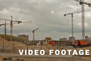Shopping center constructing. Dolly, time lapse shot in motion