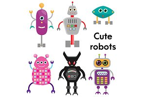 Cute robots set. Vector icons