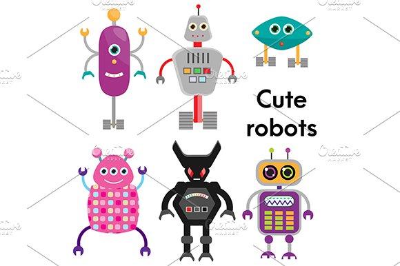 Cute Robots Set Vector Icons