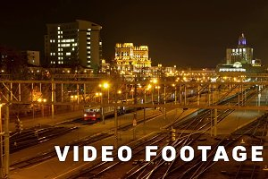 Minsk railway station at night. Dolly, time lapse shot in motion