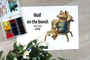 Wolf on the bench
