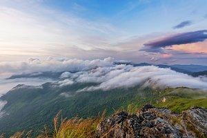 Sunrise on mountain in Thailand