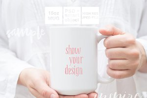 Girl Holding 15oz Ceramic Mug Mockup