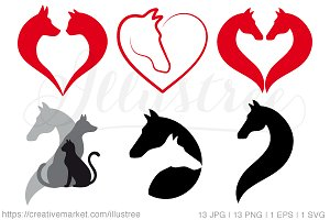 Horse, cat, dog, vector icons