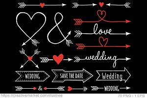 70 White wedding arrows, vector set