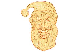 Evil Santa Claus Head Drawing