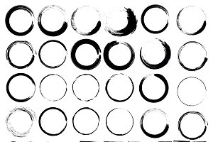 Vector set of grunge circle