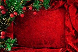 Holiday Background red velvet & pine