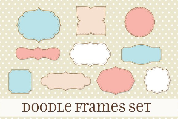 Retro Label Frames Shapes Set No 17