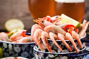 Delicious shrimps appetizer and beer