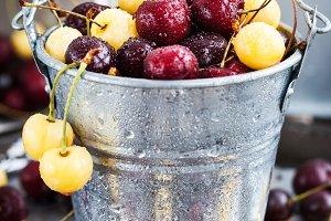 Fresh yellow and red cherry
