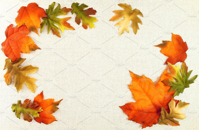 autumn leaves linen background holiday photos creative market