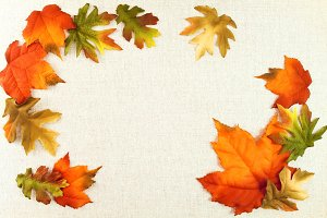 Autumn Leaves - Linen background