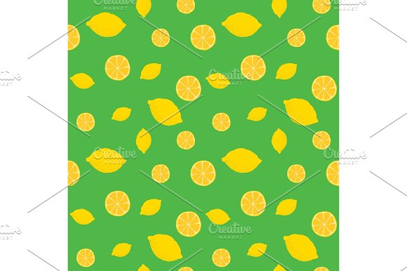 Fruits Lemon Seamless Patterns Vector