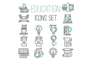 Education outline black school symbol and green icons set university knowledge thin sign graduation graduate learn diploma mathematics vector illustration.
